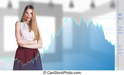 Beautiful business woman near with big graph