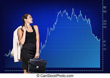 Beautiful business woman near with big graph - Beautiful...