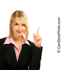 Beautiful business woman pointing her finger. Isolated on white background