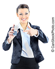 woman points to the phone