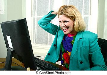 Beautiful Business Woman Pulling Hair