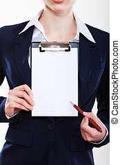 beautiful  business woman showing tablet