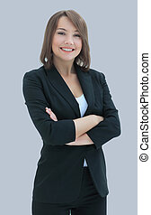 Beautiful business woman smiling isolated over a white background