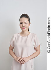 Beautiful Business Woman smiling on white background