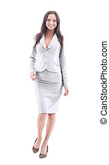 Beautiful business woman smiling isolated over a white