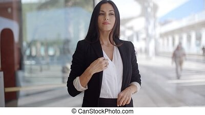 Beautiful Business Woman Standing and Looking