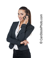 Beautiful business woman talking by phone. Standing isolated on white