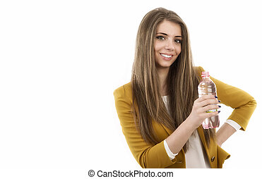 Beautiful business woman thinking about something while drinking cool fresh mineral water