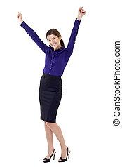beautiful business woman winning isolated on white ...