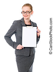 Beautiful business woman with a white banner