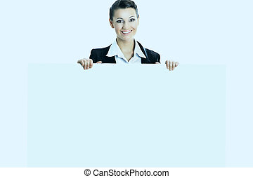 Beautiful business woman with a white banner. Isolated on white background.