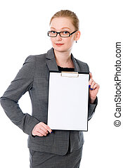 Beautiful business woman with a white banner.