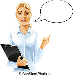 beautiful business woman with clipboard vector illustration...