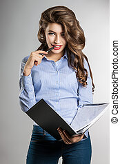 beautiful business woman with documents