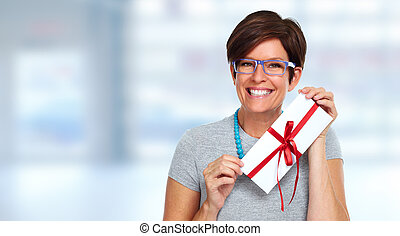 Beautiful business woman with envelope gift.