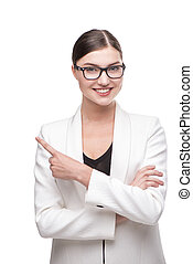 Beautiful business woman with glasses smiling and pointing -...