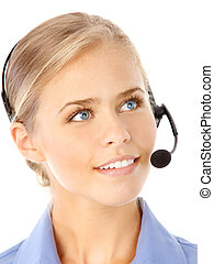 Call Center Operator - Beautiful business woman with headset...