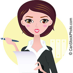 Beautiful Business woman with pen isolated on yellow...