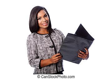 Beautiful business woman with portfolio binder