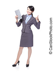 woman with Tablet PC and show thumb up
