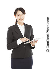 beautiful Business woman with tablet pc
