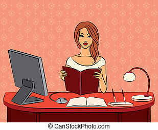 Beautiful business women - Beautiful women with book in...