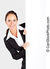 businesswoman behind white board