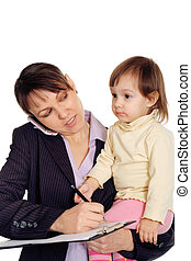 Beautiful businesswoman holding her daughter in her arms on a white background