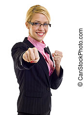 businesswoman in fighting pose