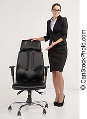 Beautiful businesswoman inviting to apply for vacant position. Concept of HR agency looking for employees