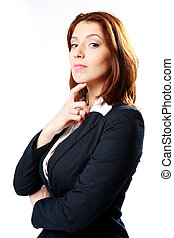 Beautiful businesswoman isolated on a white background