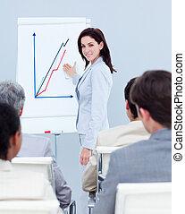 Beautiful businesswoman reporting sales figures