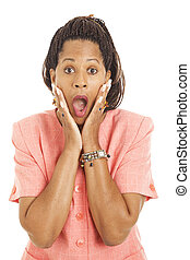 Beautiful African-American businesswoman is shocked. Isolated on white.