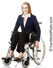 Beautiful businesswoman sitting on wheelchair.