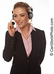Beautiful businesswoman speaking on a headset