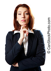 Beautiful businesswoman standing isolated on a white background