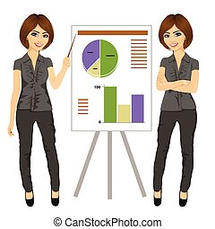 beautiful businesswoman standing near flip board pointing and explaining finances concept