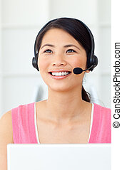 Beautiful Businesswoman talking on headset
