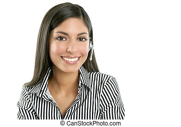 Beautiful businesswoman talking with headset