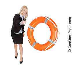 Beautiful businesswoman throwing life buoy