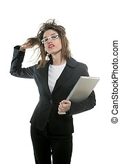 Beautiful businesswoman with glasses and laptop