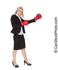 Beautiful businesswomen doing a punch