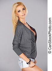Beautiful busty blond woman