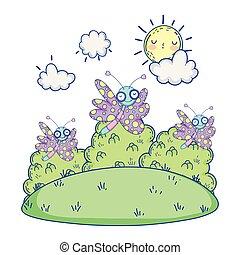 beautiful butterflies flying in the landscape