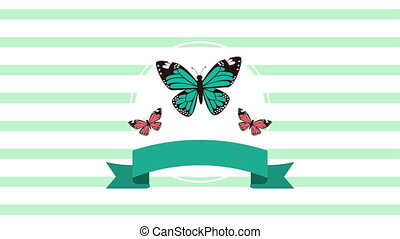 beautiful butterflies flying with ribbon animated