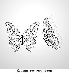Beautiful butterflies with floral pattern.