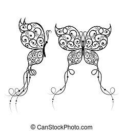 Beautiful butterflies with swirl pattern.
