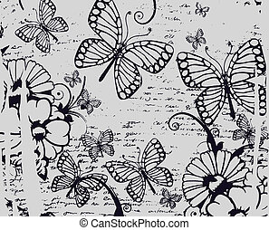 beautiful butterfly and flower text