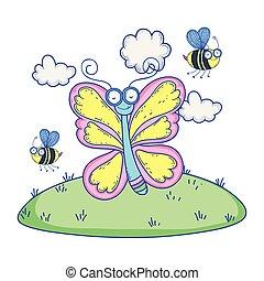 beautiful butterfly flying in the landscape