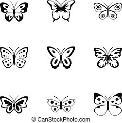 Beautiful butterfly icons set, simple style
